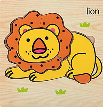 YChoice Educational Puzzle Kids Wooden Educational Puzzle Early Learning Shapes Color Animal Toy Fantastic Gifts Kids(Lion)