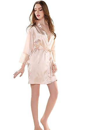 3401c328209d6 Peignoir Satin Robe de Chambre Kimono Femme Sortie de Bain Nuisette  Déshabillé Vêtements de Nuit Femme