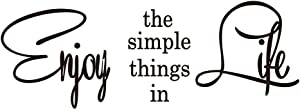 KYSUN Enjoy The Simple Things in Life Vinyl Wall Decal Positive Quotes Lettering Words Décor Inspirational Art Letters