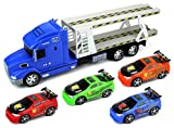 Tuner King Trailer Children's Friction Toy Transporter Truck Ready To Run 1:24 Scale w/ 4 Toy Cars (Colors May Vary)