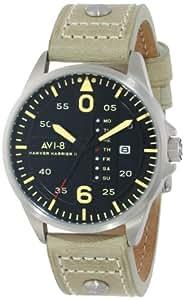 AVI-8 Men's AV-4003-03 Hawker Harrier II Stainless Steel Watch with Beige Leather Band
