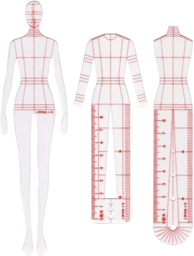 Amazon Com Chengyida 3 Models Female Fashion Illustration Rulers Fashion Drawing Template Ruler Set Sewing Humanoid Patterns Design Clothing Measuring French Curve Rulers A4 Pattern Paper Draft Drawings Home Kitchen