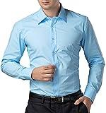 Men's Slim-Fit Wrinkle-Free Solid Cotton Dress Shirt Blue (L) KL-3 CL1044