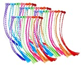 Fun Express - Neon Nylon Braided Hair Pieces,Assorted Colors, 11'' L (4-Pack of 12)