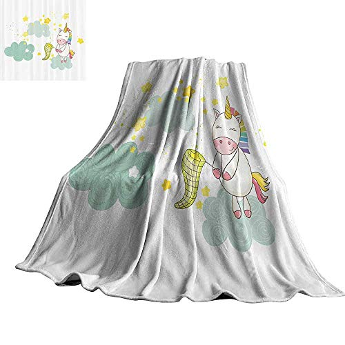 WinfreyDecor Unicorn Reversible Blanket Baby Unicorn Girl Sitting on Fluffy Clouds and Hunting Nursery Image 50
