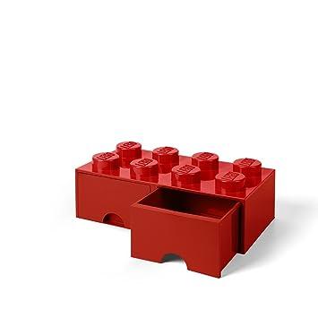 site réputé d9f3b 94910 LEGO 40061730 Brique de rangement empilable Légo 8 plots 2 tiroirs  Plastique Rouge H18 x 25 x 50 cm