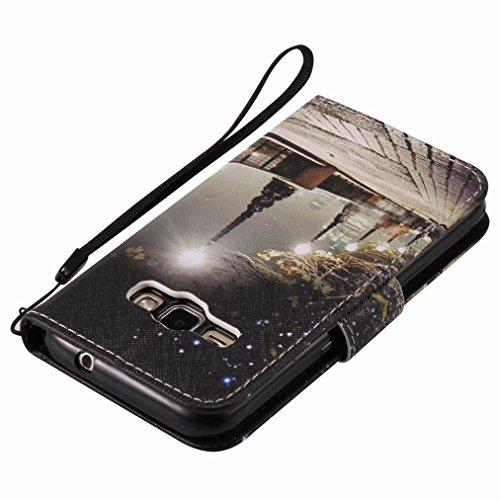 Custodia Samsung Galaxy J1 (2016) / J120F Cover Case, Ougger Portafoglio PU Pelle Magnetico Stand Morbido Silicone Flip Bumper Protettivo Gomma Shell Borsa Custodie con Slot per Schede, Scena Notturna
