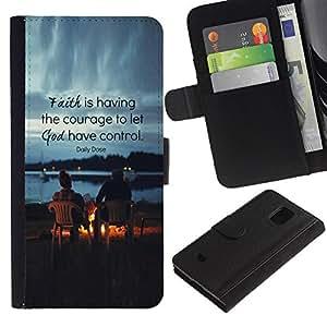 For Samsung Galaxy S5 Mini / Galaxy S5 Mini Duos / SM-G800 !!!NOT S5 REGULAR! ,S-type® Friends God Quote Christian - Dibujo PU billetera de cuero Funda Case Caso de la piel de la bolsa protectora