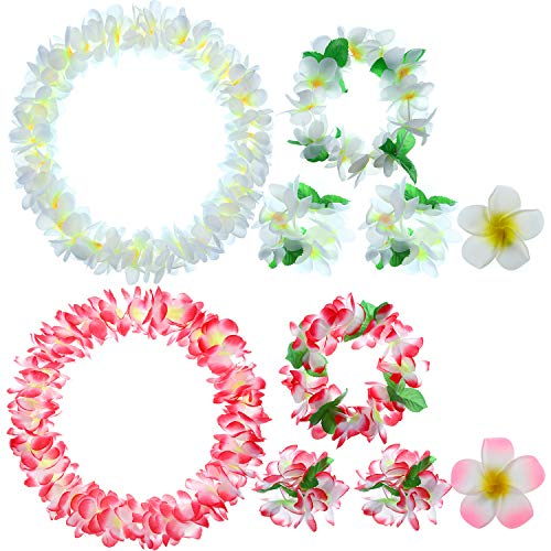(2 Sets Hawaiian Flower Leis Tropical Jumbo Necklaces Headbands Bracelets with Plumeria Flower Hair Clips for Luau Party Decoration Supplies)