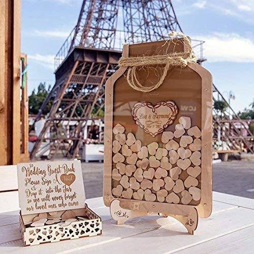Guestbook 3D Wedding Guest Book Drop Box Wooden Mason Jar Sign Guest Memory Ideas Unique Wedding Alternative Drop Top with Hearts ()