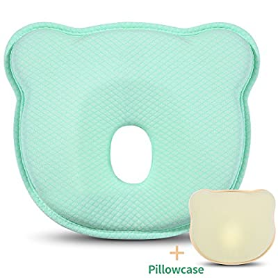 Baby Head Shaping Pillow for Newborn, Breathable Memory Foam Pillow for Sleeping Head back Infant Protective Pillow with Organic Cotton Pillowcase-Prevents Flat Head Syndrome or Plagiocephaly