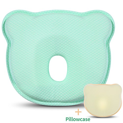 Baby Head Shaping Pillow for Newborn, AiKiddo Breathable Memory Foam Pillow for Sleeping Head back Infant Protective Pillow with Organic Cotton Pillowcase-Prevents Flat Head Syndrome or Plagiocephaly (Cotton Memory Foam Pillowcase)