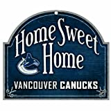 WinCraft NHL Vancouver Canucks 10 by 11-Inch Wood Sign Home Sweet Home