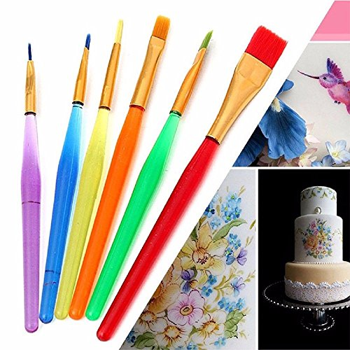 Diy French Kiss Costume (JD Million shop 6pcs Fondant Cake Brush Decorating Painting Tool Icing Set Dusting DIY Pastry Cooking Tool)
