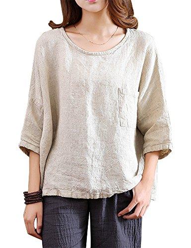 Linen Pullover - IDEALSANXUN Women's Simple Drop Sleeve Crew Neck Linen Pullover Loose Plain Shirt Tops (Free Size, 1-Beige)