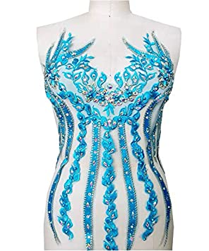 Lace Applique 3D Beaded Embroidered Floral Rhinestone Trim Great for DIY Neckline Bodice Wedding Bridal Prom Dress A11 A11 Aqua Blue