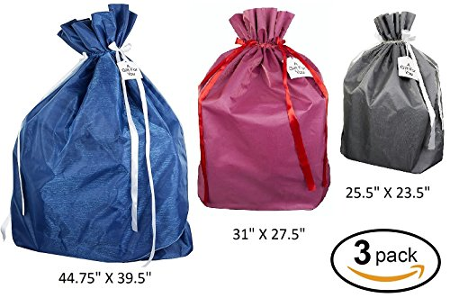 Premium Fabric Gift Wrapping Bags Organza with Satin Ribbon - Grey, Red and Blue Fabric Solid- 3 Sizes Large, Extra Large & Jumbo - Holiday Valentine's, Perfect for Large & Xlarge Gifts (3 - Fabric Bags Large Bags