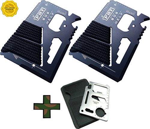 Survival Multi Tool 2 Pack- RumbaDock Survival Gear Tools 14-1 Credit Card Multitool w/ Bonus Camping Tool- Best SAS Survival Kit Multi-tool Gift- Fishing Survival Kit Multitool:,2pk by RumbaDock