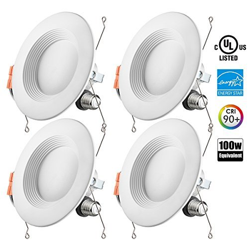 Otronics 5/6 Inch Dimmable LED Recessed Light Fixture,15W(100w Replacement) 1100 Lumens(CRI93)Daylight 5000k,LED Downlight Retrofit Kit,Energy Star UL-Listed,pack of 4 (Kit Led Fixture Light)