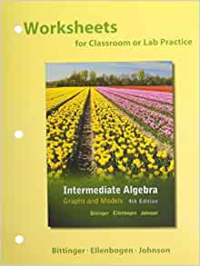 worksheets for intermediate algebra graphs models plus mymathlab access card package 4th. Black Bedroom Furniture Sets. Home Design Ideas