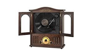 Victrola Wood Wall Mount Turntable with CD and Bluetooth