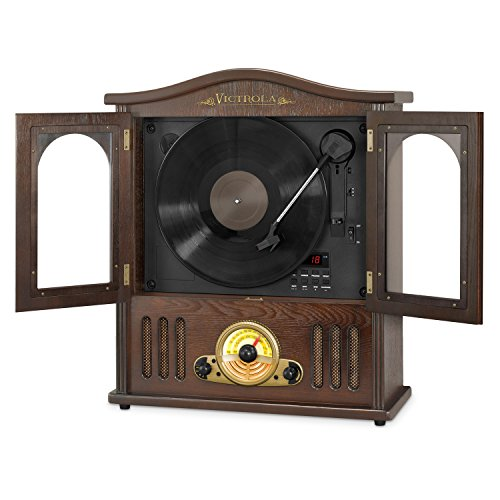 - Victrola Wood Wall Mount Turntable with CD and Bluetooth