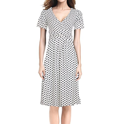 The new ThunDer? Women's Fit and Flare Dress V-neck Ruched Flowy Pleated Cap Sleeve Dress White Dots12 / (Animal Morph Suits)