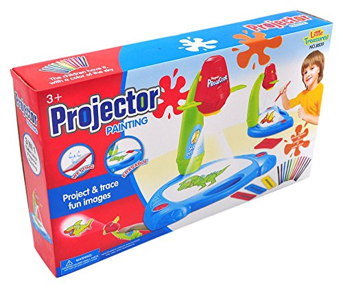 Little Treasures Projector Painting Kit for Kids Educational Learning//Drawing Set Including Table Lamp Projection with 3 Lantern Slides 24 Patterns and 12 Water Pens 8839 PROJECTORS