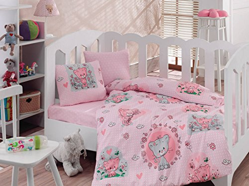 LaModaHome Animals Baby Bedding Set, 100% Cotton - Shy Innocent Cat Plays - Set of 4 - Duvet Cover, Flat Sheet and 2 Pillowcases for Baby, Toddler by LaModaHome