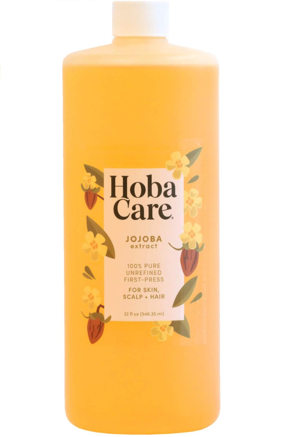 The Original Jojoba Company - Cold-Press - First-Press - Hobacare Jojoba 32 OZ. – Pure Jojoba for Face, Skin, and Hair – 100% Golden Essential Jojoba