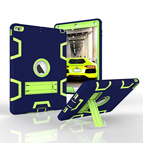 Case, Dooge Three Layers PC&Silicon Armor Defender Heavy Duty Shock-Absorption Rugged Hybrid Full Body Protective Case with Kickstand for Apple iPad Air/iPad 5 (2013 Model) ()