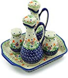 Polish Pottery Seasoning Set (Spring Flowers Theme) + Certificate of Authenticity