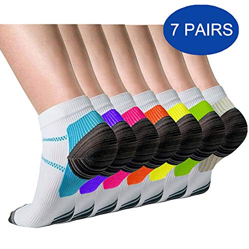 Compression Socks (3/7 Pairs) for Women and Men Sport Plantar Fasciitis Arch Support Low Cut Running Gym Compression Foot