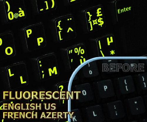 Price comparison product image Glowing fluorescent French AZERTY - English keyboard stickers