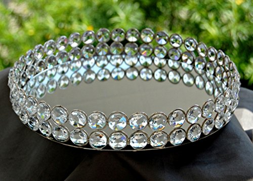 Stunning Decorative Round Clear Glass Crystal Tray with Strong Metal Base & Reflective Mirrored Top / Crystal Platter / Crystal Serveware - By Marigold - Round Crystal Glasses