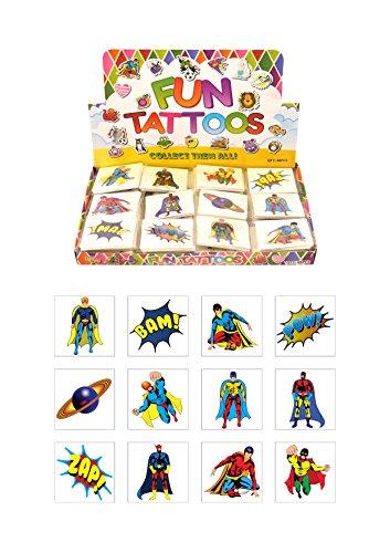Henbrandt Temporary Tattoo's - SUPERHERO - 12 x 2 packs = 24 Tattoos (Tattoos Superheroes)