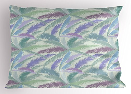 Ambesonne Hawaii Pillow Sham, Abstract Floral Arrangement The Arecaceae Foliage Leaves Flowering Tropic Plants, Decorative Standard Queen Size Printed Pillowcase, 30 X 20 Inches, Multicolor by Ambesonne