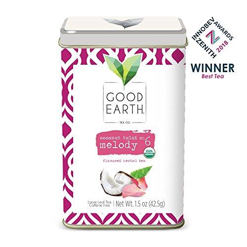 Good Earth India Tea - Good Earth Tea Coconut Tulsi Melody - Premium Organic Loose Leaf - Full-bodied herbal tea with hints of coconut - Caffeine-free