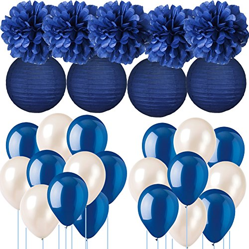 (Navy Blue Wedding Decorations Tissue Paper Pom Poms Paper Lanterns with Balloons Kit for Birthday Party Graduation Party Supplies Nautical Party Bachelorette Bridal Shower Party)