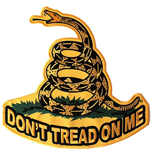 Don't Tread On Me, Yellow Gadsden Snake, Large Back Patch - 10x10 inch. Embroidered Iron on Patch (Snake Back Patch)