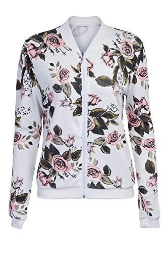 Leggero Con Manica Autunno Baseball Outwear Chic Donna Cerniera Primaverile Stampate Jacket Giacca Lunga Whitee Cute Casual Moda Elegante Pq7AwSnpB