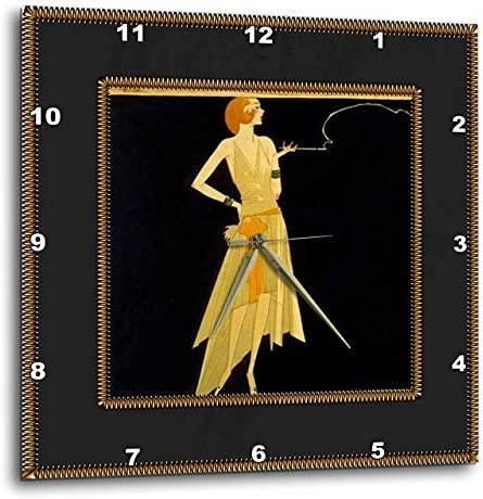 3dRose LLC DPP_39590_3 Wall Clock, 15 by 15-Inch, Art Deco Lady on Black with Gold Frame