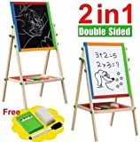 New Double Sided Black and White Wooden Easel Drawing Board Children Kids Chalkboard Set with Dry Erase Painting Artist Art Deluxe Standing 2 in 1 Flip-Over Reversible Adjustable Height