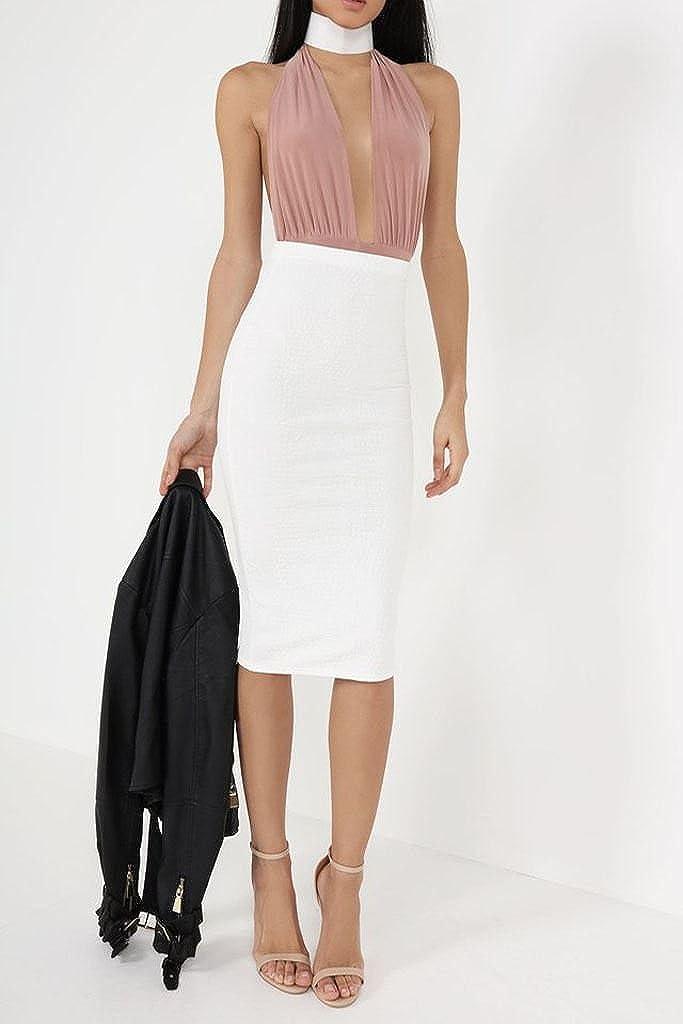 janisramone Womens Ladies New Halter Neck Backless Slinky Soft Sleeveless Leotard Bodysuit Plunge Stretch Top