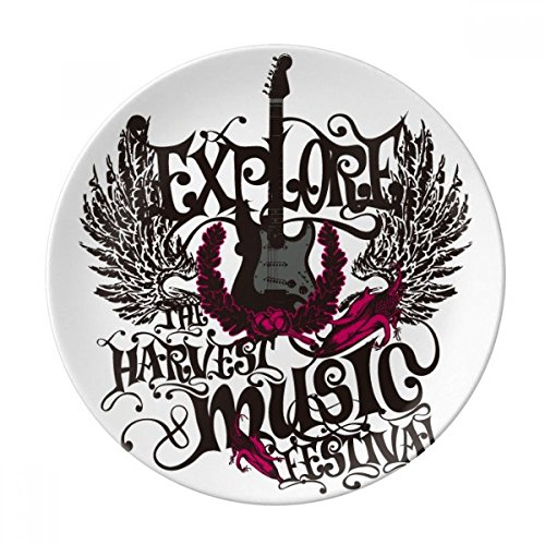 (Explore uoThe Harvest Rock Music Dessert Plate Decorative Porcelain 8 inch Dinner Home )