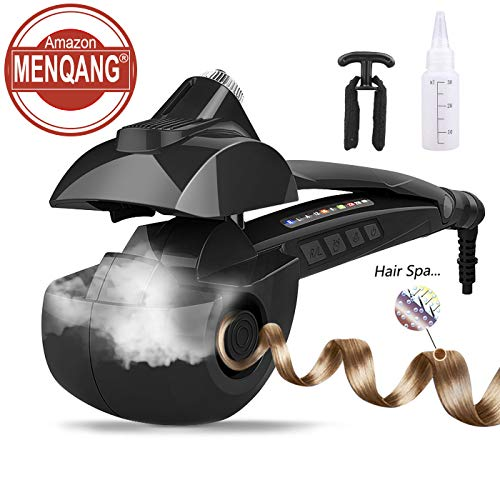 Automatic Hair Steam Curler Ceramic Curling Iron Bar Salon Professional Rotating Styling Steamer Spray Curl Spiral Machine Tool with LED Digital Display (Black)