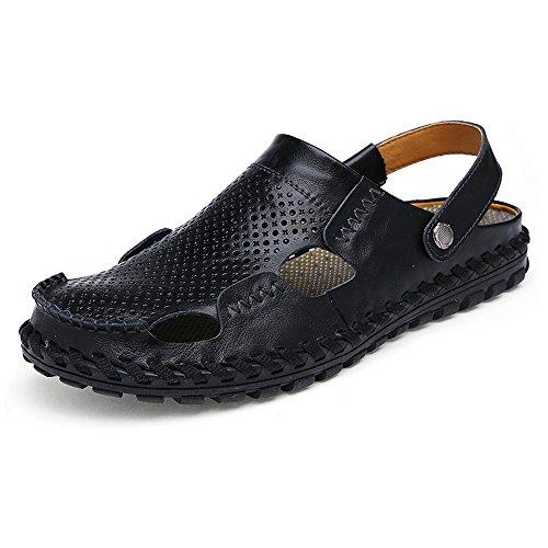 spiaggia traspiranti 42 uomo uomo EU vera Jiuyue dimensione Scarpe in da da pelle Orange shoes Nero da Sandali Colore a7azwtI
