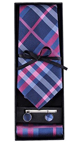 DiBanGu Pink Blue Tie Silk Plaid Necktie Pocket Square Cufflink Set for Men Formal -