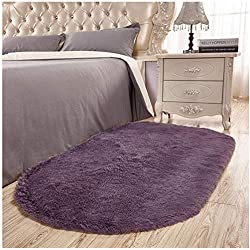 Junovo Ultra Soft Modern Fluffy Area Rug Living Room Bedroom Kids Room Nursery,2.6' X 5.3',Gray-Purple