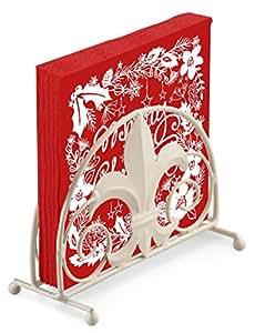 MERRY CHRISTMAS RED WHITE FLORAL LEAF STAR 20 X 3 PLY PAPER NAPKINS & FLEUR DE LYS NAPKIN HOLDER SET
